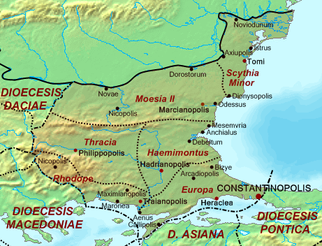 Heraclea shown in the Roman Diocese of Thrace of 314 to 640