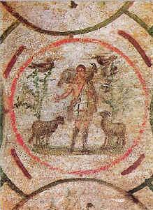 Il Buon Pastore dipinto nelle catacombe di Priscilla, cubicolo della velatio, metà del III secolo.jpg