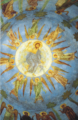 The Ascension of Our Lord represented in the cupola of the Cathedral of the Transfiguration. Note the usual number of eight angels represented around the ascended Christ.