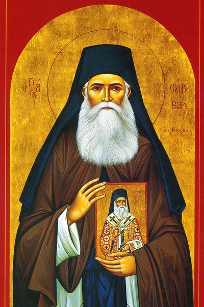 File:St Savvas of Kalymnos-with Icon6X4.jpg