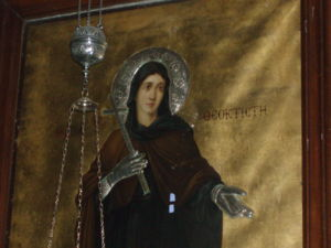 Icon of St. Theoctiste of Lesbos in the Church of Panagia Ekatontapyliani