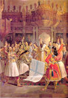 Bp. Germanos proclaiming independence on March 25, 1821, at the Monastery of Agia Lavra
