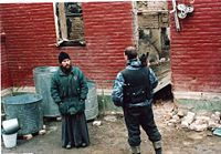 Fr. Anatoly at Michael Archangel church destroyed during fights