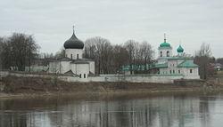 Mirozhsky Monastery on the Velikaya River in Pskov, Russia.