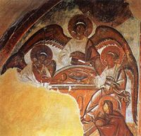 Theophan's fresco of the Holy Trinity in the Church of the Transfiguration in Novgorod