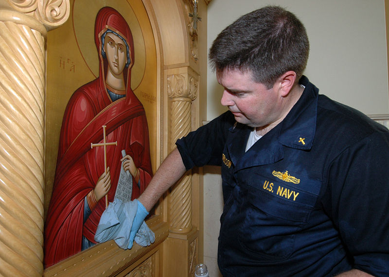 File:U.S. Navy Chaplain Lt. Michael Hendrickson helps clean up the Greek Orthodox Church of New Orleans after Hurricane Katrina.jpg